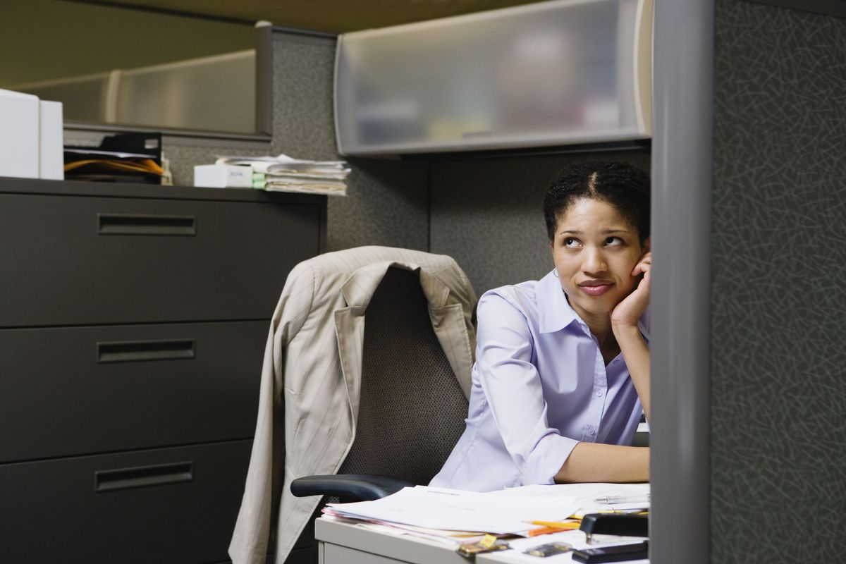 Annoyed woman in office