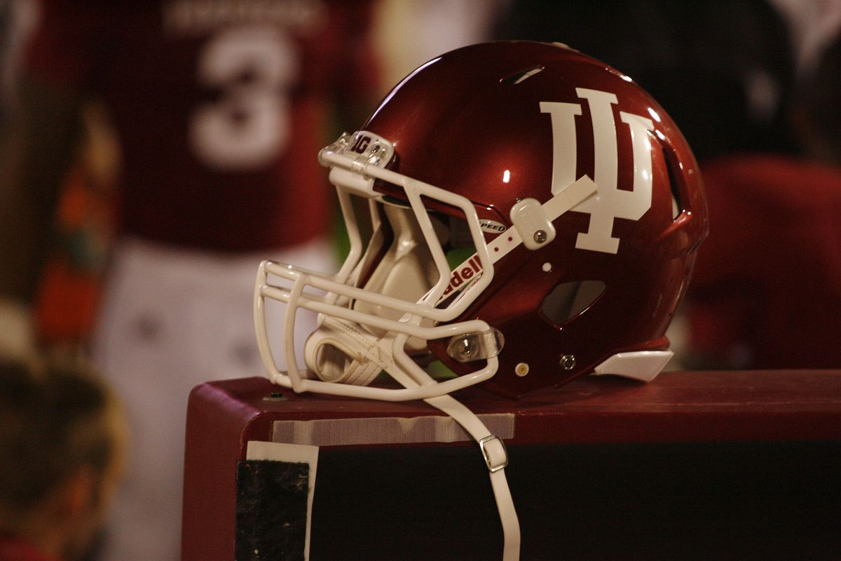 Sep 1, 2012; Bloomington, IN, USA; Indiana Hoosiers helmet rests on the bench during the game against Indiana State Sycamores at Memorial Stadium. Indiana defeats Indiana State 24-17.  Mandatory Credit: Brian Spurlock-US PRESSWIRE