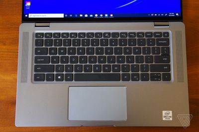The keyboard deck of the Dell Latitude 9510 2-in-1 seen from above.