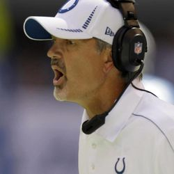 Indianapolis Colts head coach Chuck Pagano reacts during the second half of an NFL football game against the Minnesota Vikings in Indianapolis, Sunday, Sept. 16, 2012.