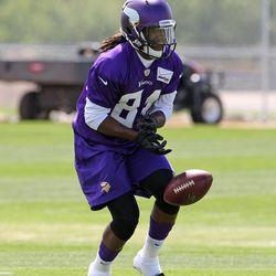 Jul 26, 2013; Mankato, MN, USA; Minnesota Vikings wide receiver Cordarrelle Patterson (84) drops a punt during training camp at Minnesota State University. Mandatory Credit: Brace Hemmelgarn-USA TODAY Sports