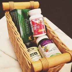 It's really easy to overdo it with supplements—there are literally a million options. Like most things, less is usually more. My favorites right now are a multivitamin by <strong>New Chapter</strong>, a probiotic by <strong>Dr. Ohirra</strong>, a B-12 (I'