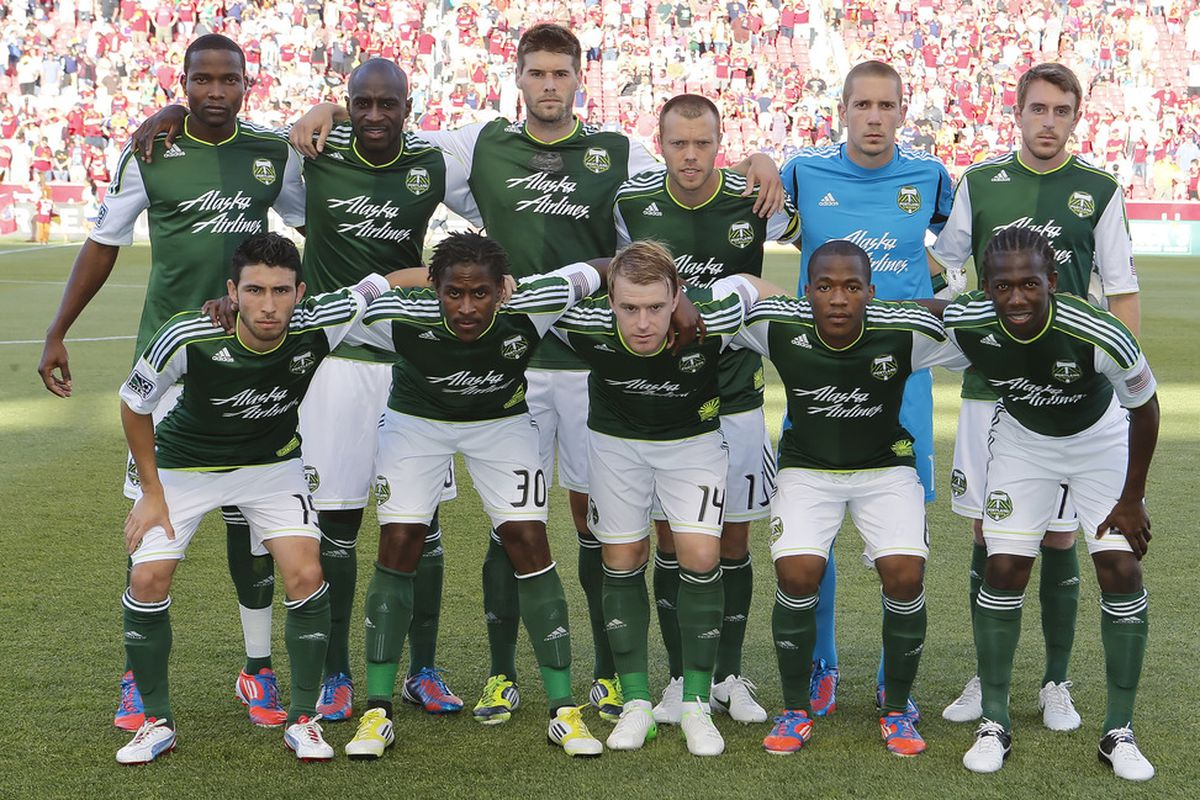 SANDY, UT - JULY 7: Players of Portland Timbers pose for a picture before a game against Real Salt Lake at an MLS soccer game July 7, 2012 at Rio Tinto Stadium in Sandy, Utah. (Photo by George Frey/Getty Images