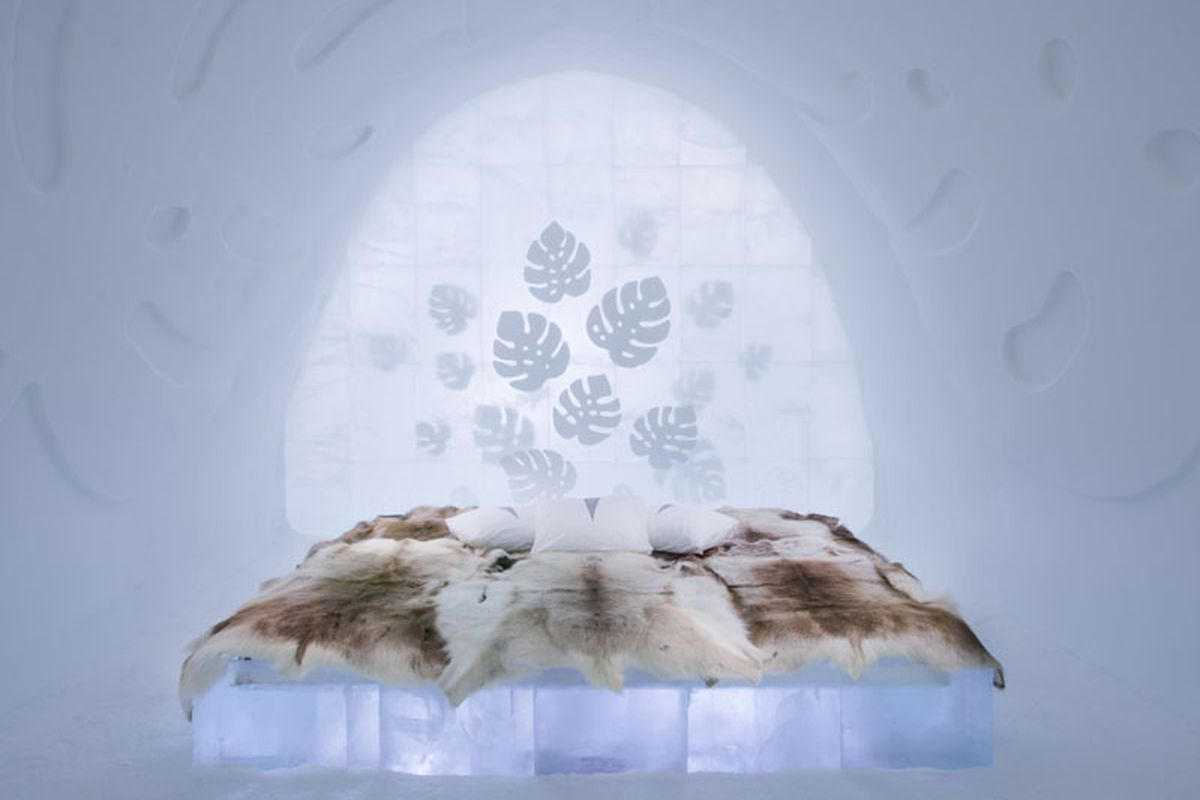 ice hotel with monstera design