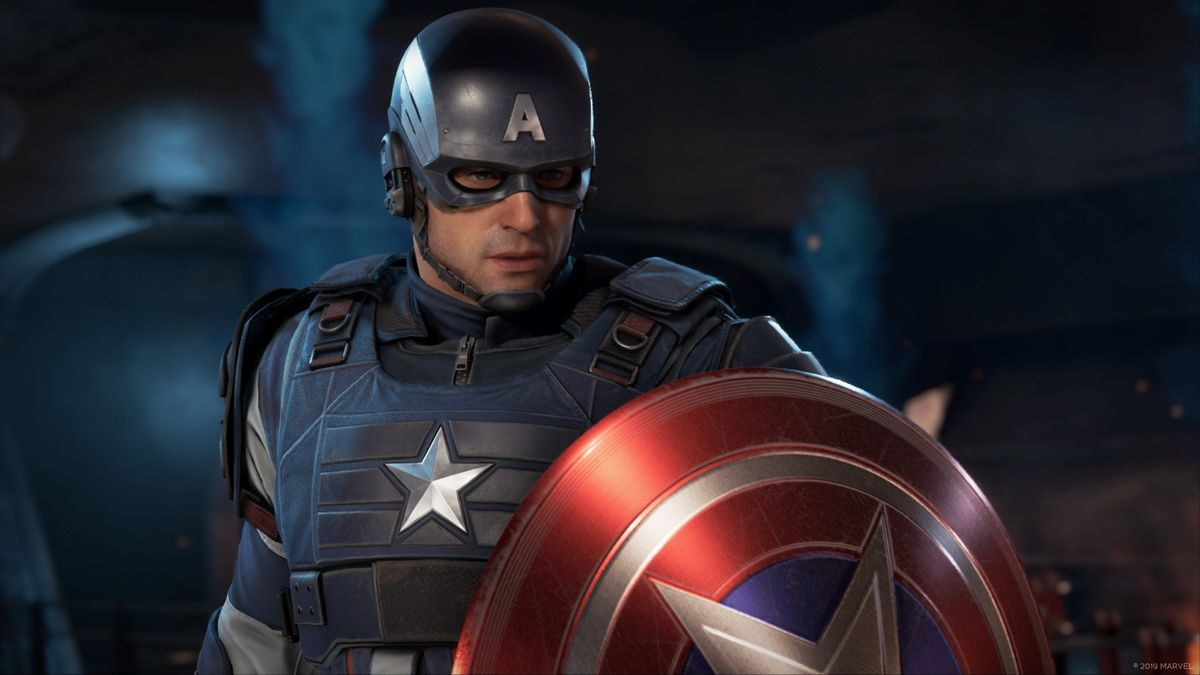 Captain America stands with his shield up in a screenshot from Marvel's Avengers