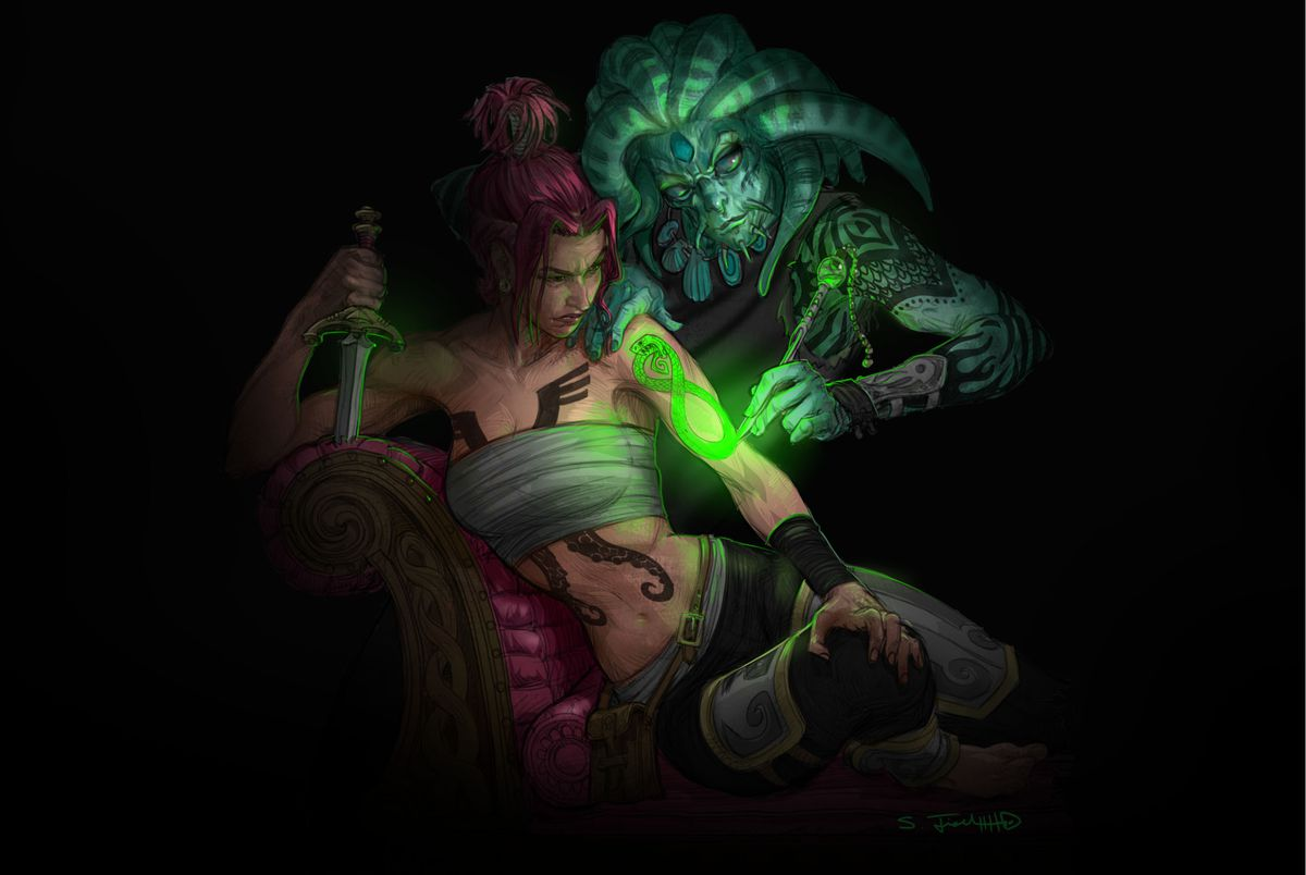 A woman grabs the knife pommel while a man with tentacles on his head cuts a glowing tattoo in her arm.