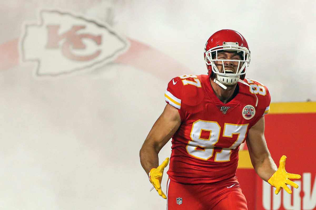 Kansas City Chiefs tight end Travis Kelce takes the field before the game against the Indianapolis Colts at Arrowhead Stadium.