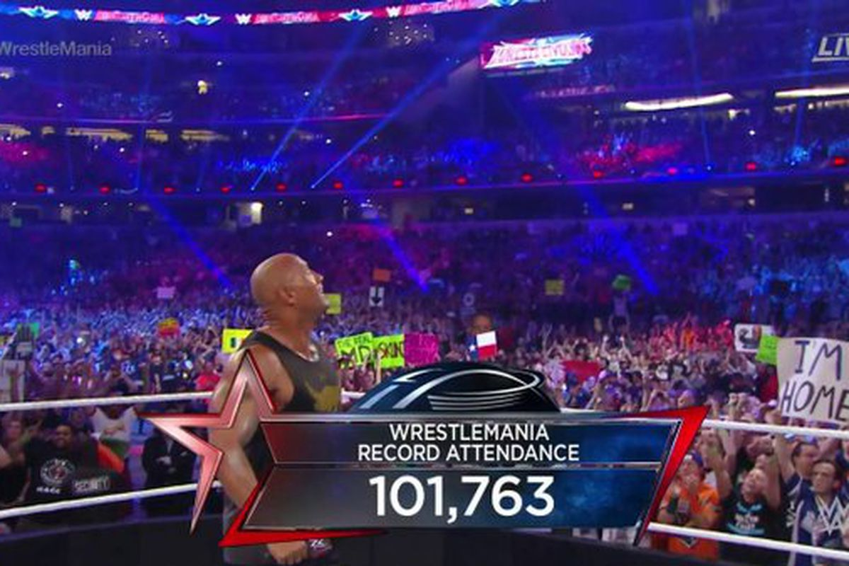 wrestlemania 32 sets attendance record with 101 763 at at t stadium