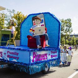 The Riverton Utah Copperview Stake float is pictured during the Days of '47 Union Pacific Railroad Youth Parade held Saturday, July 18, 2015, in Salt Lake City.