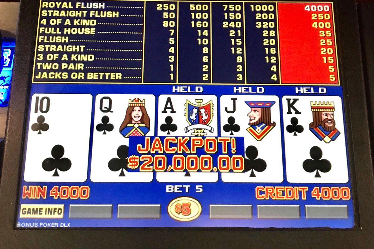 A royal flush on a bar-top gaming machine