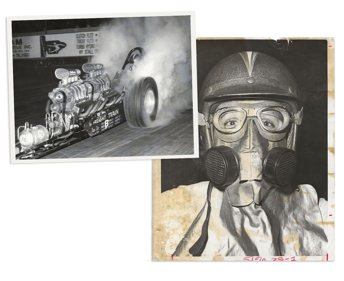 Two black and white photos. On the left, The Freight Train hot rod does a burnout, sending smoke streaming from the back tires. On the right, Bob Muravez wearing his racing helmet and facemask and looking directly at the camera.