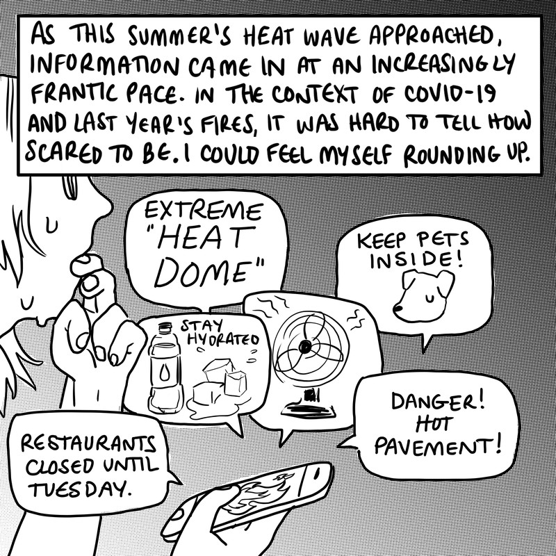 """A person in profile holds a smartphone with flames on the screen. Word balloons explode out of the phone with messages including """"extreme heat dome!"""" """"Stay hydrated!"""" """"Keep pets inside,"""" """"Danger! Hot pavement!"""" Restaurants closed until Tuesday,"""" and a drawing of a fan."""