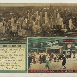 """Toffenetti postcard via <a href=""""http://postcards.delcampe.com/page/item/id,161218670,var,Toffenetti-Restaurant-on-Braodway-NY-Postcard,language,E.html"""">Delcampe</a>."""