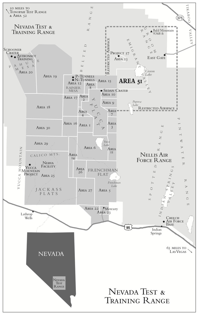 A map showing the state of Nevada with the Nevada Test & Training Range and Area 51.