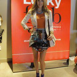 "A great graphic skirt on Kier Mellour of <a href=""http://www.fashionaddict.la/""target=_blank"">Fashion Addict</a>."