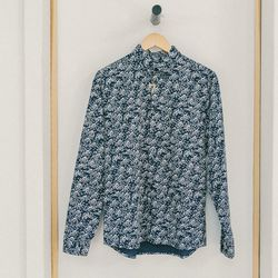 """Cuisse de Grenouille navy 'Wave' shirt, <a href=""""http://swords-smith.com/products/wave-shirt-navy"""">$150</a>"""