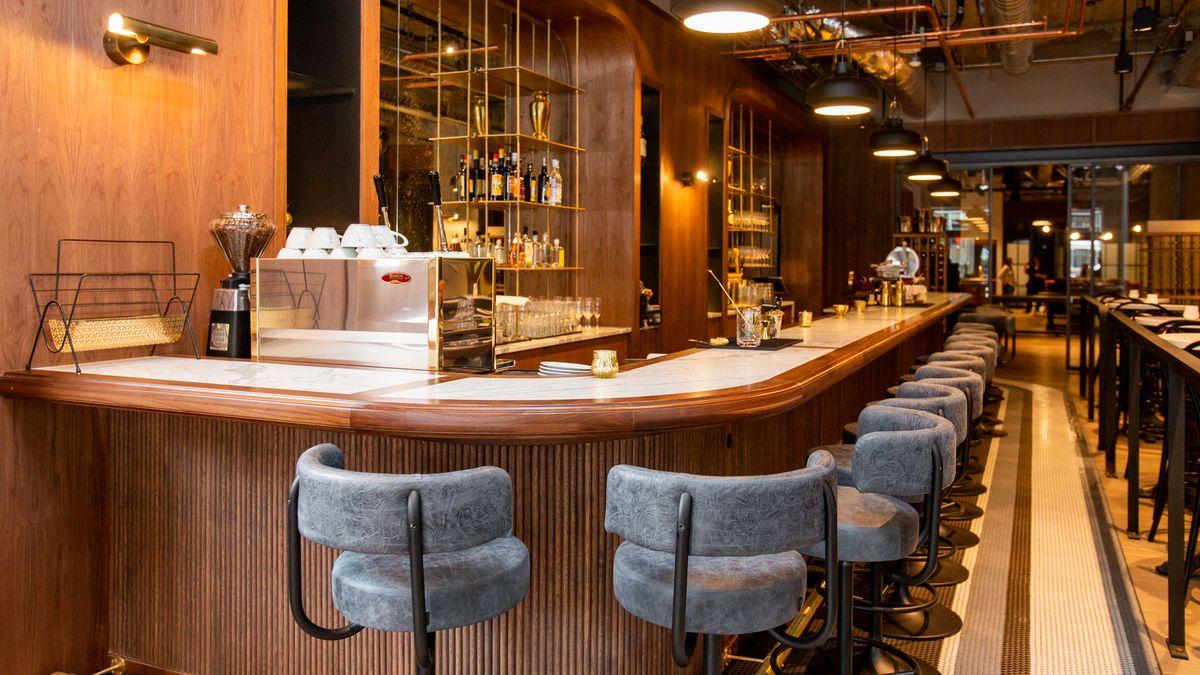 The bar and bar stools at Bar Taglio downtown.