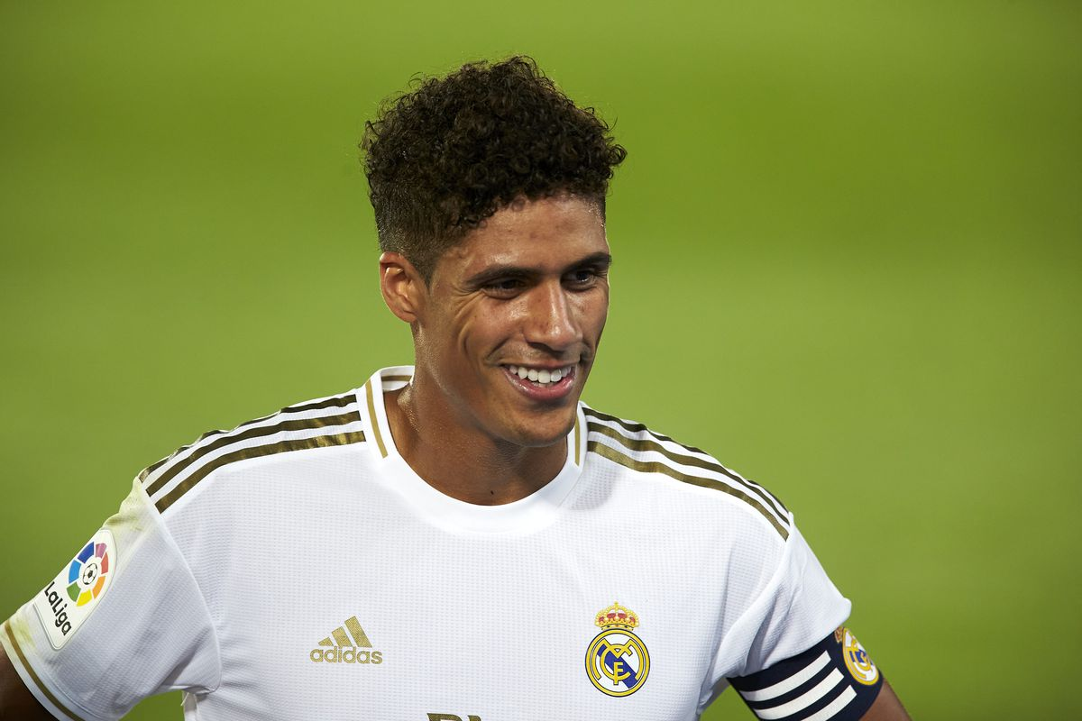 Real Madrid CF's Rapahel Varane seen in action during the La...
