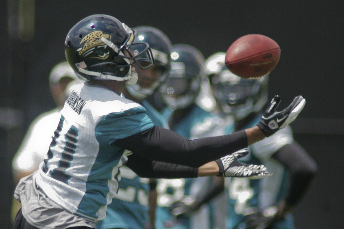 June 12, 2012; Jacksonville FL, USA; Jacksonville Jaguars wide receiver Laurent Robinson (81) catches a pass during minicamp at Florida Blue Health & Wellness Practice Fields. Mandatory Credit: Phil Sears-US PRESSWIRE