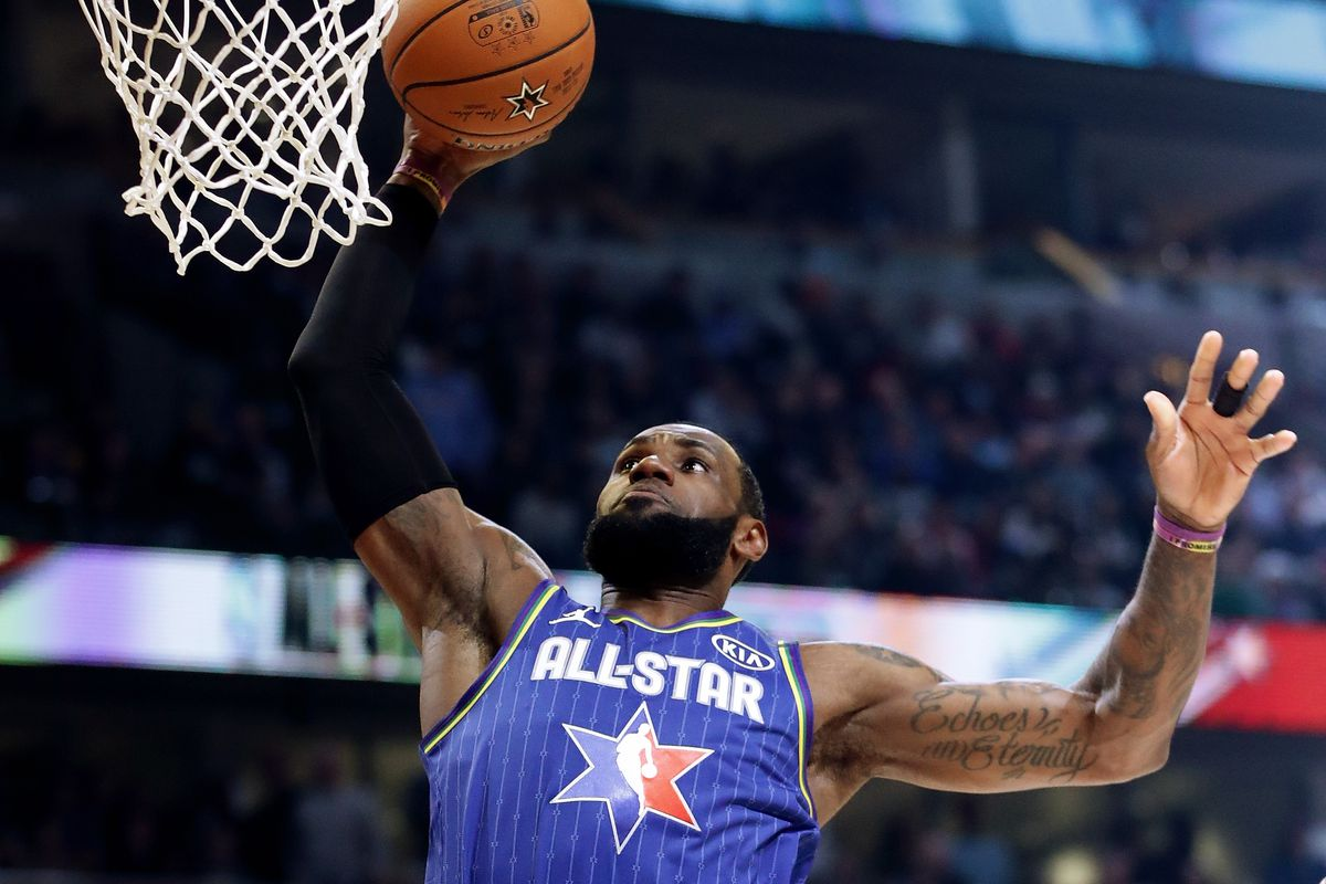LeBron James goes up for a basket during Sunday's NBA All-Star Game.
