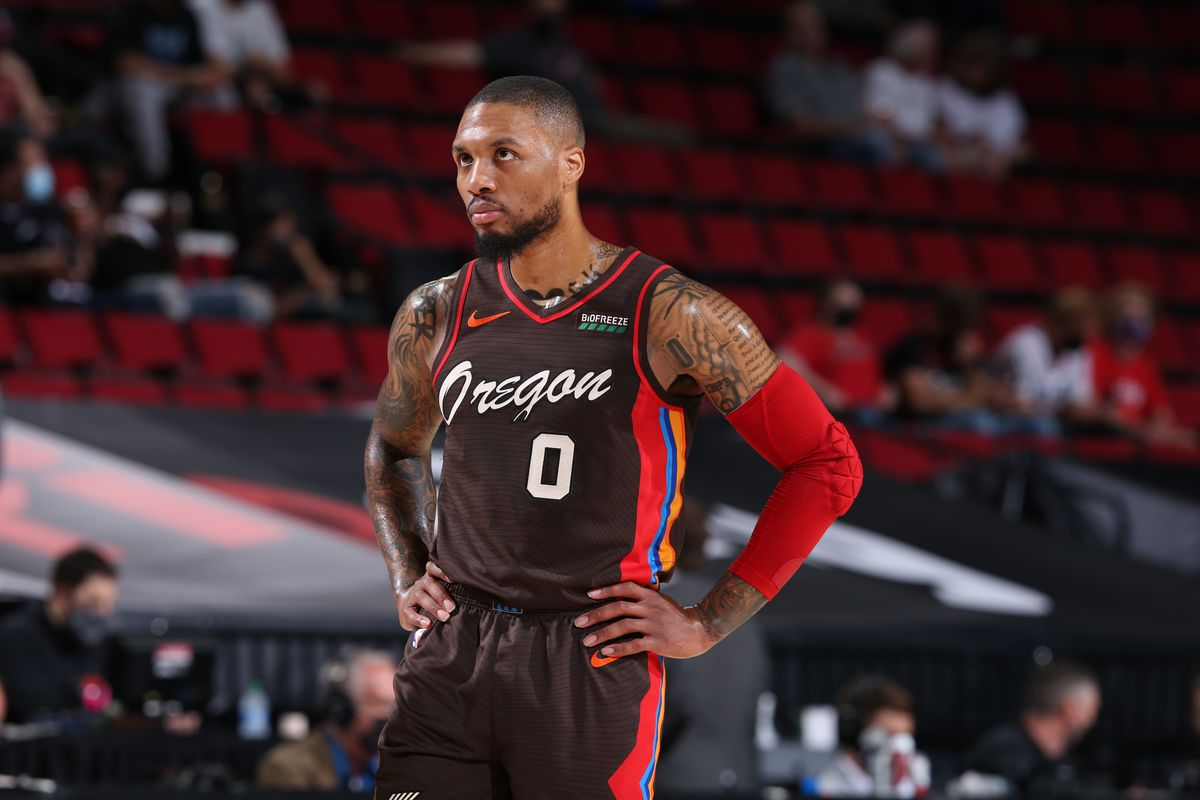 Damian Lillard of the Portland Trail Blazers looks on during the game against the Denver Nuggets on June 3, 2021 at the Moda Center Arena in Portland, Oregon.