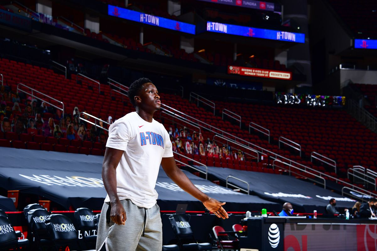 Victor Oladipo of the Houston Rockets warms up before the game against the Oklahoma City Thunder on March 21, 2021 at the Toyota Center in Houston, Texas.
