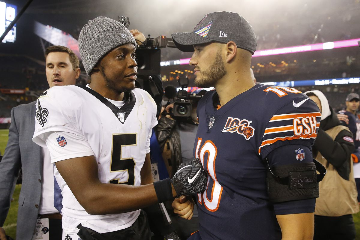 Teddy Bridgewater #5 of the New Orleans Saints is congratulated by Mitchell Trubisky #10 of the Chicago Bears following their game at Soldier Field on October 20, 2019 in Chicago, Illinois.