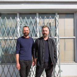 Designers right outside their Silver Lake digs.