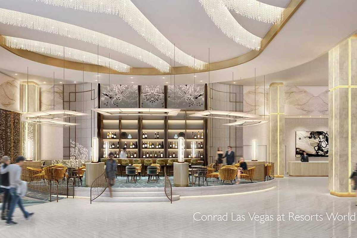 A rendering of the lobby bar headed to the Conrad Las Vegas section of the under construction Resorts World Las Vegas.