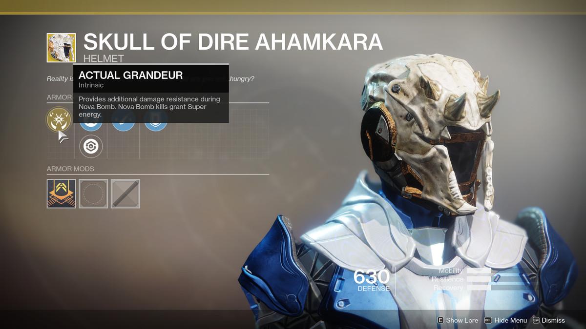 Skull of Dire Ahamkara Exotic Destiny 2