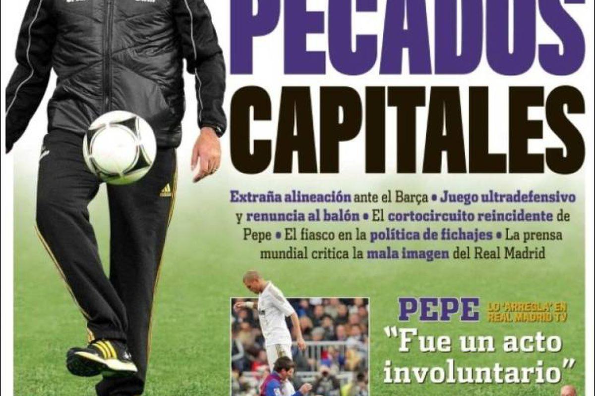 """via <a href=""""http://img.kiosko.net/2012/01/20/es/marca.750.jpg"""">img.kiosko.net</a>Cover of Marca: """"Capital Sins"""""""
