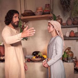 """Jesus Christ (Jonathan Roumie) and another actress film a scene for """"The Chosen."""""""