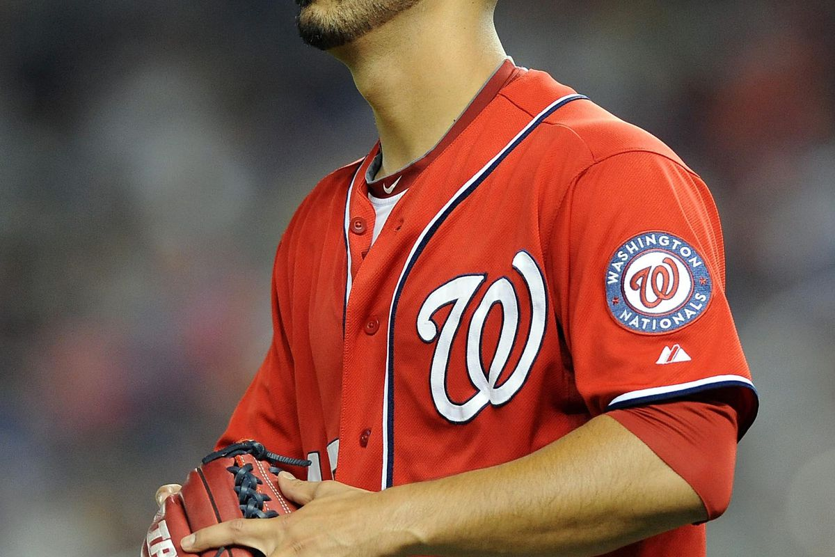 July 14, 2012; Miami, FL, USA; Washington Nationals starting pitcher Gio Gonzalez (47) looks on during the sixth inning against the Miami Marlins at Marlins Park. Mandatory Credit: Steve Mitchell-US PRESSWIRE