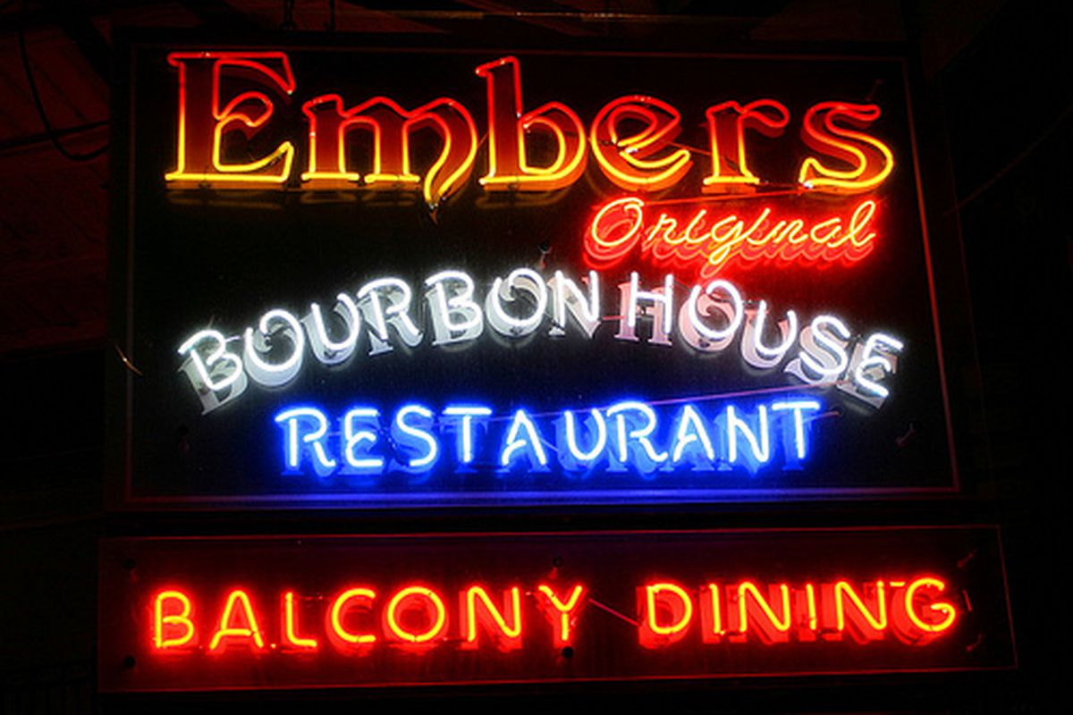 The neon at Embers on Bourbon Street.
