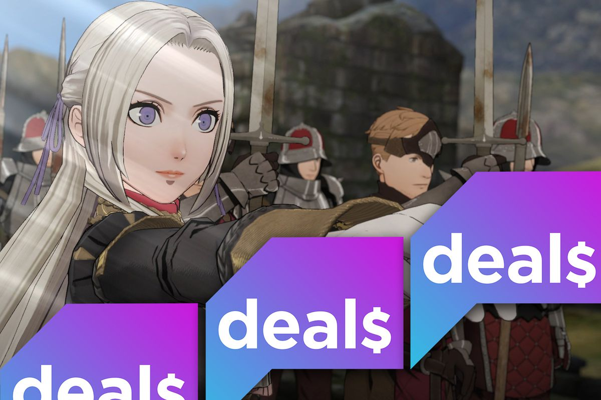 A composite image of the Polygon Deals logo over a screenshot from Fire Emblem: Three Houses