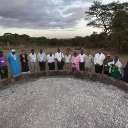 In this photo taken Thursday, Sept. 20, 2012, religious leaders of different faiths pray around a pile of charred elephant ivory at a site in Nairobi National Park where Kenyan officials burned hundreds of ivory tusks in 1989 to draw attention to the slaughter of elephants, in Nairobi, Kenya. Seeing a dire situation grow worse, the animal conservation group the World Wildlife Fund (WWF) enlisted religious leaders on Thursday, Sept. 20, 2012 in the fight to end the slaughter of Africa's elephants and rhinos by poachers, hoping that religion can help save some of the world's most majestic animals.