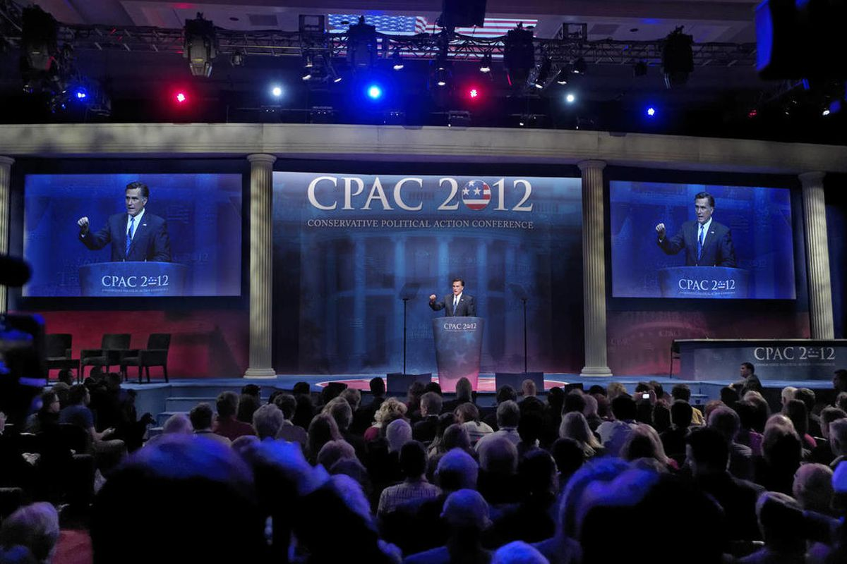 Republican presidential candidate, former Massachusetts Gov. Mitt Romney addresses the Conservative Political Action Conference (CPAC) in Washington, Friday, Feb. 10, 2012.