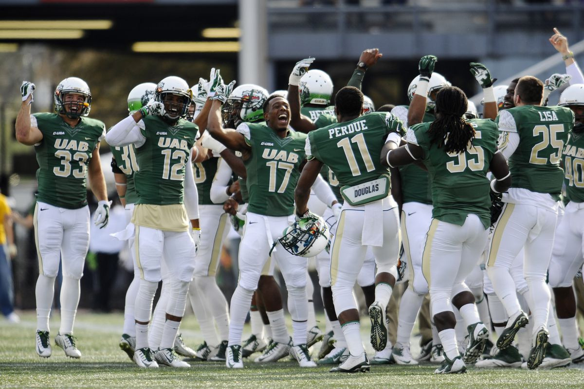 Celebrations can be short-lived; this was earlier in the season for the now-defunct UAB Blazers.