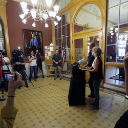 Salt Lake City Mayor Jackie Biskupski and Police Chief Mike Brown hold a press conference in Salt Lake City on Friday, Sept. 1, 2017, concerning a University Hospital nurse who was arrested for not allowing a blood draw by a Salt Lake police officer.