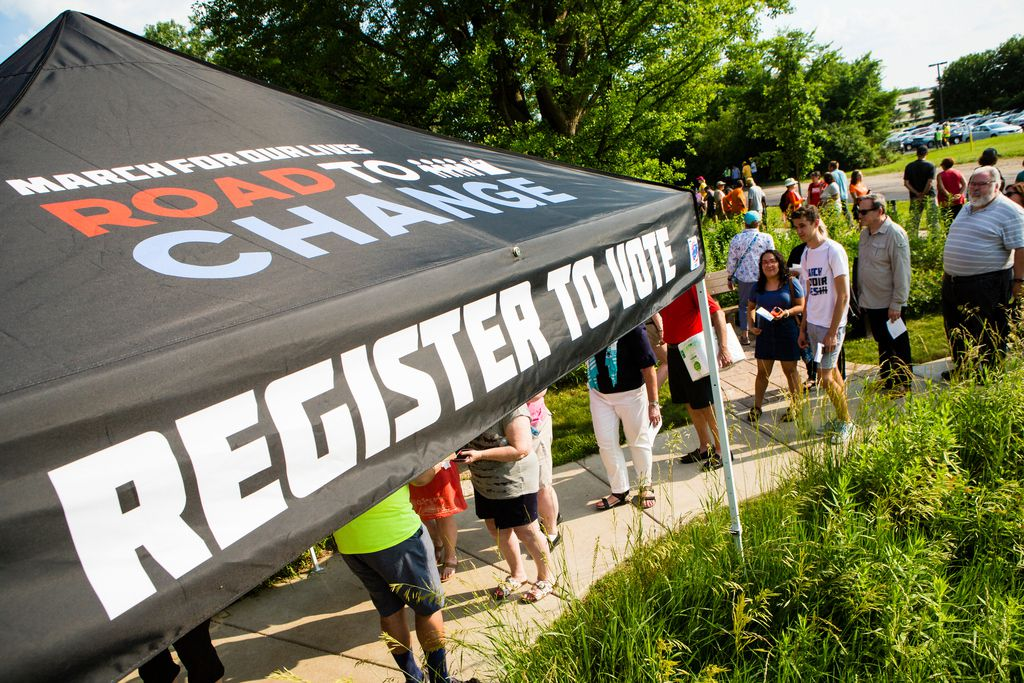 Parkland students have planned stops in cities like Saturday's visit to Naperville whereRepublican Congressman Peter Roskam has been a consistent supporter of gun rights and has received donations from the NRA. | James Foster/For the Sun-Times