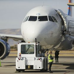 An Allegiant Air airplane is prepped at the Provo Municipal Airport in Provo on Wednesday, Nov. 6, 2019.