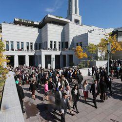 Crowds leave the opening session of the 183rd Semiannual General Conference of the Church of Jesus Christ of Latter-day Saints Saturday, Oct. 5, 2013, in Salt Lake City.