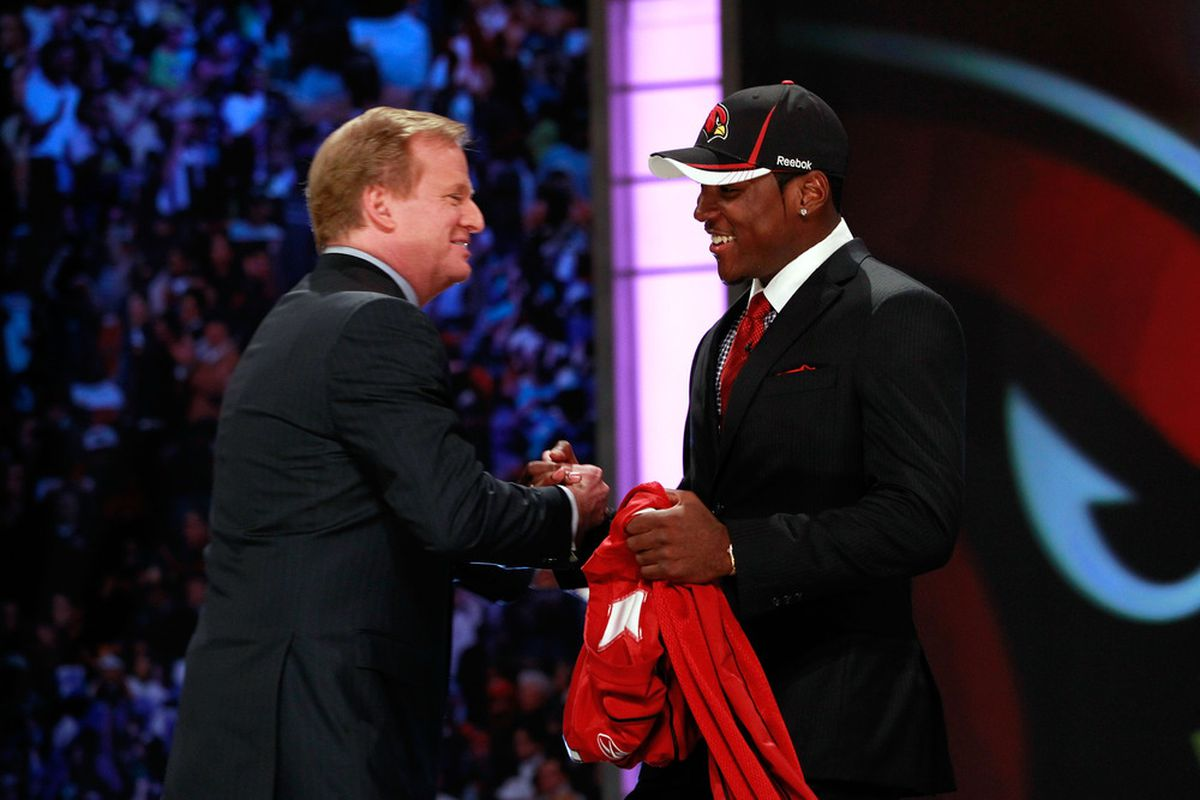 NEW YORK, NY:  NFL Commissioner Roger Goodell (L) greets Patrick Peterson, #5 overall pick by the Arizona Cardinals, during the 2011 NFL Draft at Radio City Music Hall in New York City.  (Photo by Chris Trotman/Getty Images)