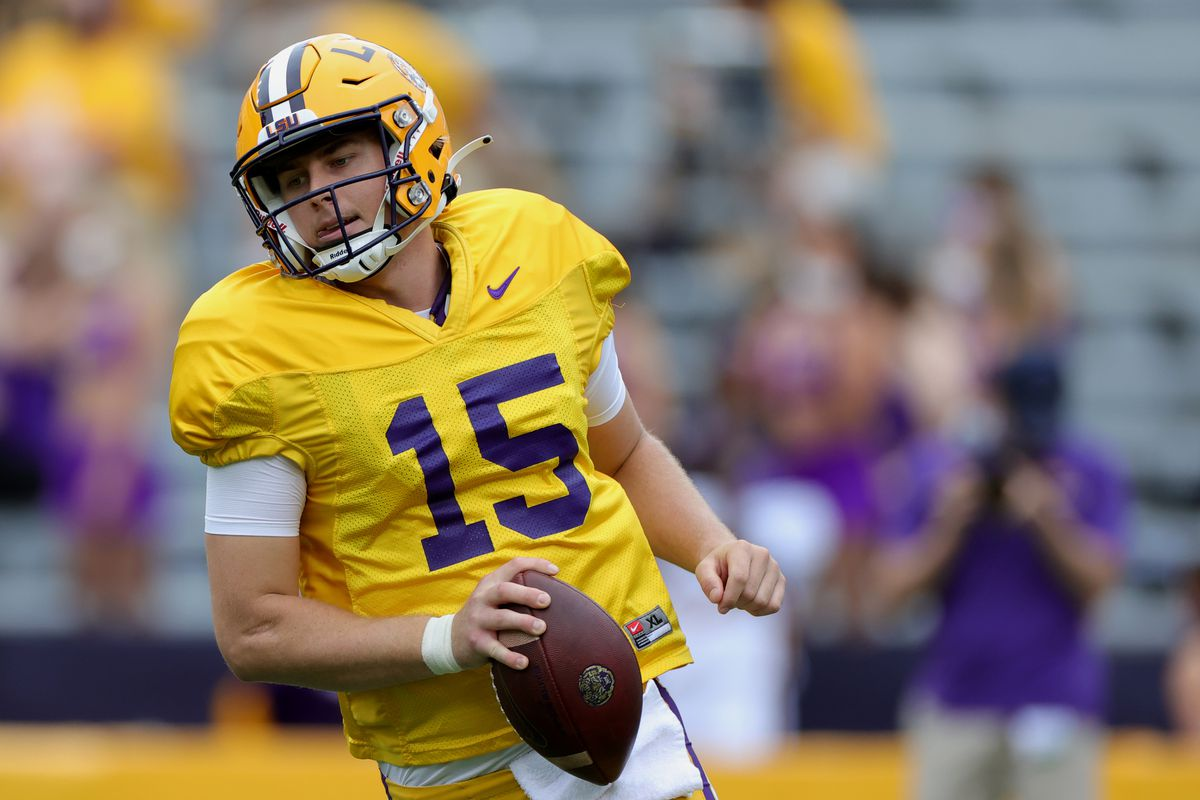 Myles Brennan #15 of the LSU Tigers warms up prior to the spring game at Tiger Stadium on April 17, 2021 in Baton Rouge, Louisiana.