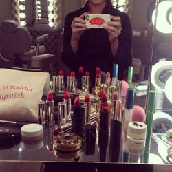 """This is the contents of my makeup bag that I realized was getting a little out of hand. So I used this diary as an intervention to shame myself into change. And yes, I do indeed carry four red lipsticks.<br>· <b>Julie Hewett</b> <a href=""""http://www.j"""
