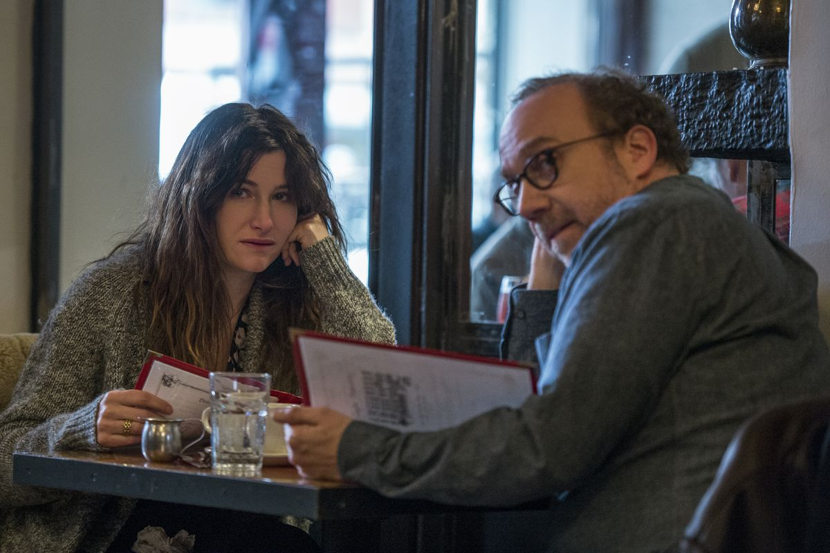 Private Life: Kathryn Hahn and Paul Giamatti spying at another couple at a diner
