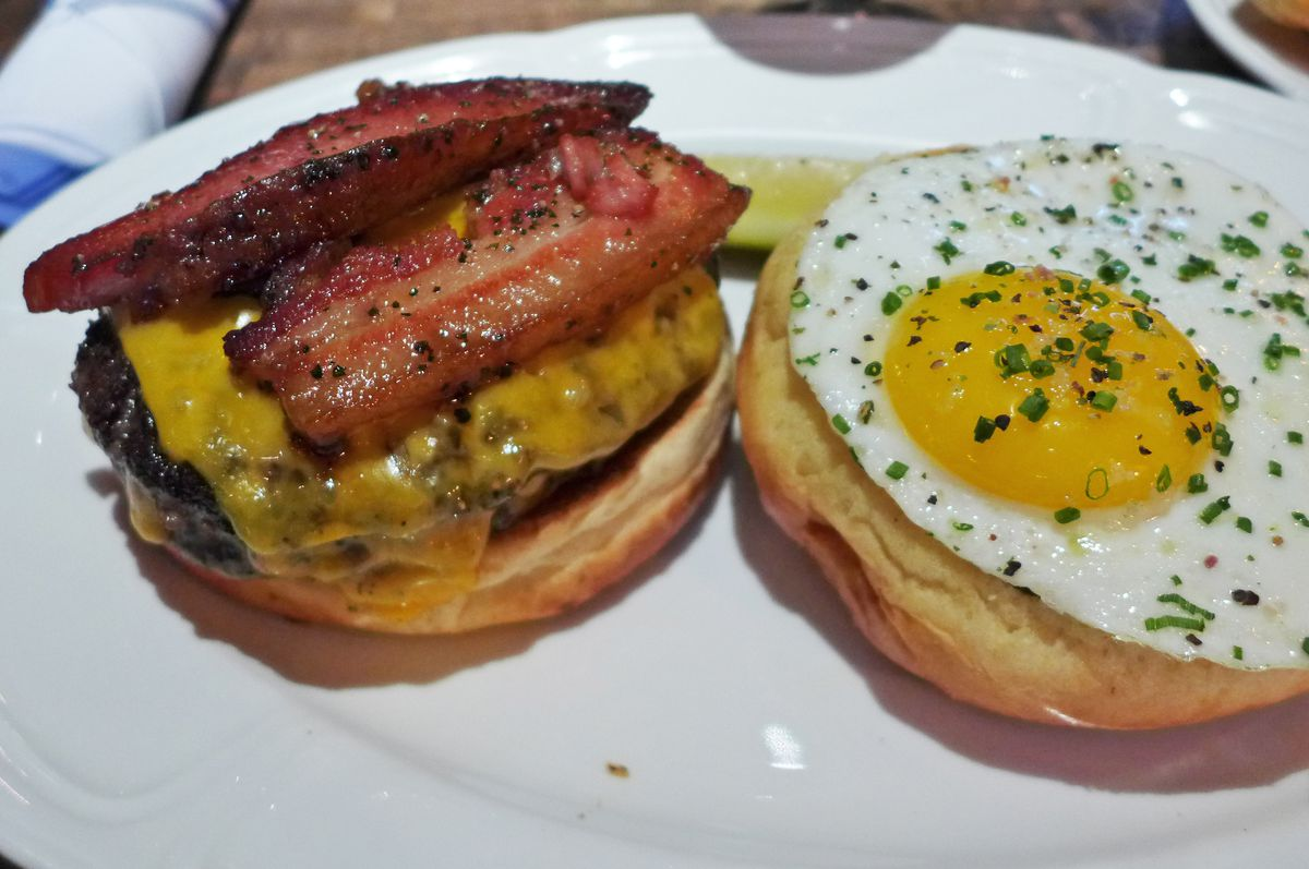 The double patty Au Cheval with bacon and egg...