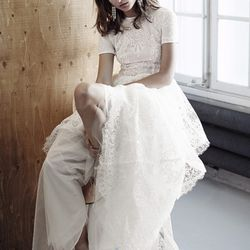 Lace dress with T-shirt body, $549; flat organic leather shoes, $99
