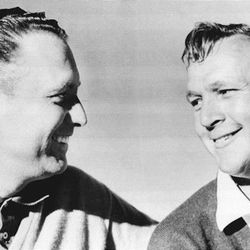 Billy Casper and Arnold Palmer after Casper overcame a seven-shot deficit to catch and pass Palmer in the 1966 U.S. Open at The Olympic Club in San Francisco. In his just-released autobiography, Casper praises Palmer's sportsmanship in the wake of the defeat. The U.S. Open returns to the Olympic Club this June.
