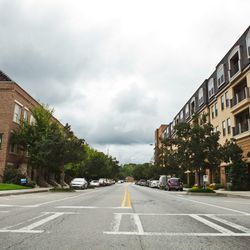 Trees line the streets of Glenwood Park, a mixed-use development.